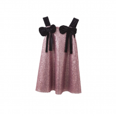 TC ΦΟΡΕΜΑ & HEADBAND VENECIAN CARNIVAL A-LINE SEQUIN DRESS W/VELVET BOWS KID